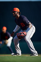Detroit Tigers first baseman Niko Goodrum (28) during a Grapefruit League Spring Training game against the Baltimore Orioles on March 3, 2019 at Ed Smith Stadium in Sarasota, Florida.  Baltimore defeated Detroit 7-5.  (Mike Janes/Four Seam Images)