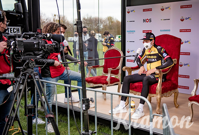 King Wout van Aert (BEL/Jumbo-Visma) interviewed post-race after he won the 55th Amstel Gold Race 2021 (1.UWT)<br /> <br /> 1 day race from Valkenburg to Berg en Terblijt; raced on closed circuit (NED/217km)<br /> <br /> ©kramon