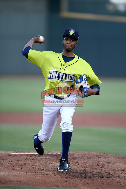 Starting pitcher Daison Acosta (18) of the Columbia Fireflies delivers a pitch in a game against the Hickory Crawdads on Wednesday, August 28, 2019, at Segra Park in Columbia, South Carolina. Hickory won, 7-0. (Tom Priddy/Four Seam Images)