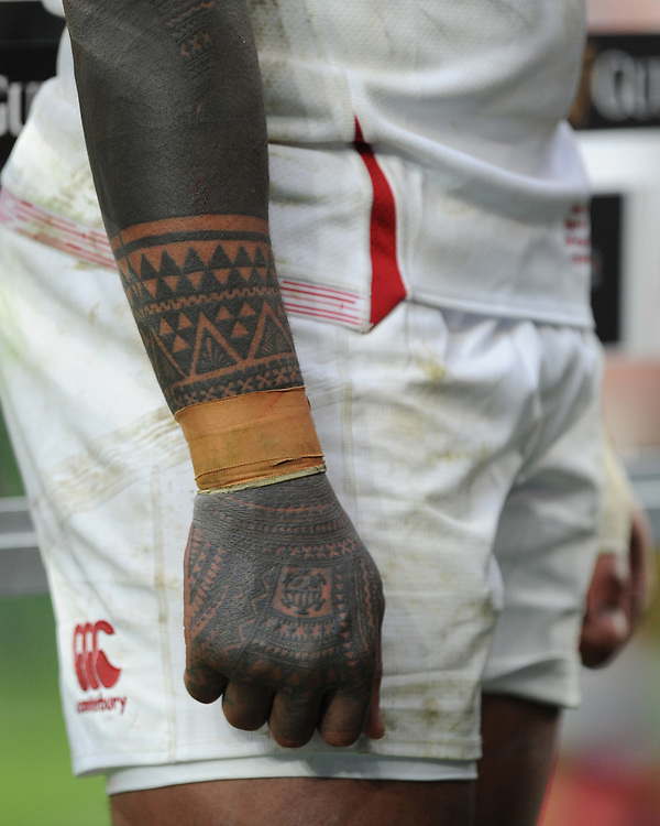 Courtney Lawes of England tattoed arm during the Guinness Six Nations match between England and Ireland at Twickenham Stadium on Sunday 23rd February 2020 (Photo by Rob Munro/Stewart Communications)