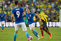 Action photo during the match Brazil vs Ecuador, Corresponding Group -B- America Cup Centenary 2016, at Rose Bowl Stadium<br /> <br /> Foto de accion durante el partido Brasil vs Ecuador, Correspondiante al Grupo -B-  de la Copa America Centenario USA 2016 en el Estadio Rose Bowl, en la foto:  (i-d) Filipe Luis de Brasil y Gabriel Achilier de Ecuador <br /> <br /> <br /> 04/06/2016/MEXSPORT/Victor Posadas.