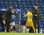 25.10.2020 Rangers v Livingston: Managers Steven Gerrard and Gary Holt congratulate both sets of players at full time