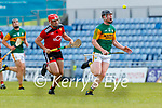 Brandon Barrett, Kerry in action against Pearse Og McCrickard, Down during the National hurling league between Kerry v Down at Austin Stack Park, Tralee on Sunday.