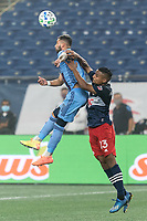 FOXBOROUGH, MA - SEPTEMBER 02: Valentin Castellanos #11 of New York City FC and Michael Mancienne #13 of New England Revolution battle for head ball during a game between New York City FC and New England Revolution at Gillette Stadium on September 02, 2020 in Foxborough, Massachusetts.