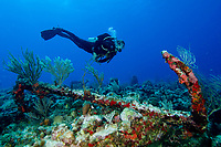 Divemaster Joel Schuman from Golden Rock Divers, with large anchor at Anchor Point North, Statia (St. Eustatius), Caribbean.