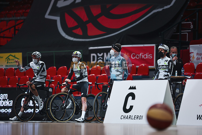 Team Qhubeka Assos at the team presentation before the 2021 Flèche-Wallonne, running 193.6km from Charleroi to Huy, Belgium. 21st April 2021.  <br /> Picture: A.S.O./Aurélien Vialatte | Cyclefile<br /> <br /> All photos usage must carry mandatory copyright credit (© Cyclefile | A.S.O./Aurélien Vialatte)