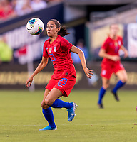 PHILADELPHIA, PA - AUGUST 29: Christen Press #23 of the United States controls the ball during a game between Portugal and the USWNT at Lincoln Financial Field on August 29, 2019 in Philadelphia, PA.