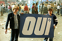 Le camp du OUI au referendum de 1980 (date exacte inconnue) mais probablement le soir du vote.<br /> <br /> PHOTO : Agence Quebec Presse