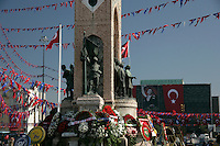 Taksim Square decked out for Republic Day on 29 October 2008, Istanbul, Turkey