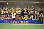 Berlin, Germany, February 01: During the prize giving ceremony for the winners of the Hallenhockey Saison 2014/15 women the team of Duesseldorfer HC at the Final Four tournament on February 01, at Max-Schmeling-Halle in Berlin, Germany. (Photo by Dirk Markgraf / www.265-images.com) *** Local caption ***