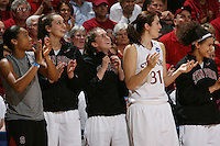 24 March 2008: Melanie Murphy, Ashley Cimino, Hannah Donaghe, Morgan Clyburn and Cissy Pierce during Stanford's 88-54 win over UTEP in the second round of the NCAA women's basketball championships in Stanford, CA.