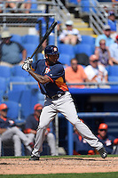 Houston Astros outfielder Domingo Santana (13) during a Spring Training game against the Toronto Blue Jays on March 9, 2015 at Florida Auto Exchange Stadium in Dunedin, Florida.  Houston defeated Toronto 1-0.  (Mike Janes/Four Seam Images)