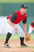 Third baseman Jake Oester #22 of the Kannapolis Intimidators on defense against the Augusta GreenJackets at Fieldcrest Cannon Stadium June 24, 2010, in Kannapolis, North Carolina.  Photo by Brian Westerholt / Four Seam Images