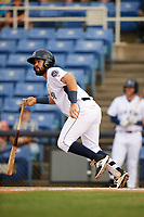 Binghamton Rumble Ponies second baseman Luis Guillorme (3) runs to first base during a game against the Altoona Curve on May 17, 2017 at NYSEG Stadium in Binghamton, New York.  Altoona defeated Binghamton 8-6.  (Mike Janes/Four Seam Images)
