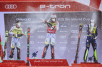22nd December 2020, Madonna di Campiglio, Italy; FIS Mens slalom world cup race; 2nd placed Sebastian Foss Solevaag of Norway Winner Henrik Kristoffersen of Norway 3rd placed Alex Vinatzer of Italy during the winners ceremony