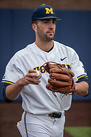 Michigan Wolverines pitcher Jack Bredeson (34) warms up before the NCAA baseball game against the Michigan State Spartans on May 7, 2019 at Ray Fisher Stadium in Ann Arbor, Michigan. Michigan defeated Michigan State 7-0. (Andrew Woolley/Four Seam Images)