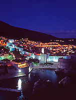 Illuminated Fortress walls at night. Old City of Dubrovnik, Croatia.