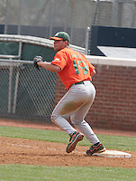 Yonder Alonso of the Miami Hurricanes vs. the Virginia Cavaliers: March 24th, 2007 at Davenport Field in Charlottesville, VA.  Photo by:  Mike Janes/Four Seam Images