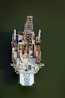 aerial photograph of a Cliffs Drilling oil drilling platform in the gulf off of the Texas coast