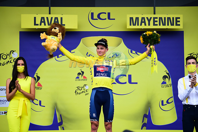 Race leader Mathieu Van Der Poel (NED) Alpecin-Fenix retains the Yellow Jersey at the end of Stage 5 of the 2021 Tour de France, an individual time trial running 27.2km from Change to Laval, France. 30th June 2021.  <br /> Picture: A.S.O./Pauline Ballet   Cyclefile<br /> <br /> All photos usage must carry mandatory copyright credit (© Cyclefile   A.S.O./Pauline Ballet)