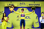 Race leader Mathieu Van Der Poel (NED) Alpecin-Fenix retains the Yellow Jersey at the end of Stage 5 of the 2021 Tour de France, an individual time trial running 27.2km from Change to Laval, France. 30th June 2021.  <br /> Picture: A.S.O./Pauline Ballet | Cyclefile<br /> <br /> All photos usage must carry mandatory copyright credit (© Cyclefile | A.S.O./Pauline Ballet)