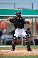 GCL Marlins catcher Casey Combs (28) during a Gulf Coast League game against the GCL Astros on August 8, 2019 at the Roger Dean Chevrolet Stadium Complex in Jupiter, Florida.  GCL Marlins defeated GCL Astros 5-4.  (Mike Janes/Four Seam Images)