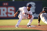 Antonio Nunez (7) of the Lancaster JetHawks waits for the throw to second base during a game against the Modesto Nuts at The Hanger on June 7, 2016 in Lancaster, California. Lancaster defeated Modesto, 3-2. (Larry Goren/Four Seam Images)