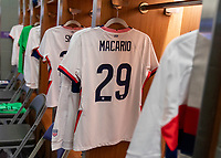 ORLANDO, FL - JANUARY 18: Catarina Macario #29 of the USWNT has her jersey in the locker room before a game between Colombia and USWNT at Exploria Stadium on January 18, 2021 in Orlando, Florida.