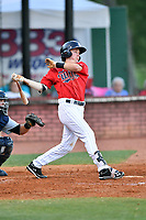 Elizabethton Twins shortstop Jordan Gore (38) swings at a pitch during a game against the Pulaski Yankees at Joe O'Brien Field on June 27, 2016 in Elizabethton, Tennessee. The Yankees defeated the Twins 6-4. (Tony Farlow/Four Seam Images)