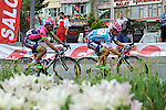 Race leader Kristijan Durasek (CRO) and Maximiliano Ariel Richeze (ARG) Lampre-Merida during Stage 8 of the 2015 Presidential Tour of Turkey running 124km from Istanbul to Istanbul. 3rd May 2015.<br /> Photo: Tour of Turkey/Mario Stiehl/www.newsfile.ie