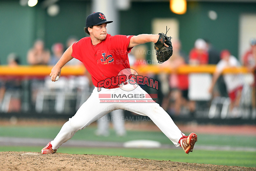 Johnson City Cardinals pitcher Tyler Peck (16) delivers a pitch during game three of the Appalachian League, West Division Playoffs against the Bristol Pirates at TVA Credit Union Ballpark on September 1, 2019 in Johnson City, Tennessee. The Cardinals defeated the Pirates 7-5 to win the series 2-1. (Tony Farlow/Four Seam Images)