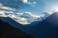 View of Nuptse, Everest, Lhotse and Ama Dablam at sunrise from Namche Bazar, Khumbu, Nepal