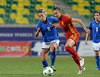 20180307 - LARNACA , CYPRUS : Italian Martina Rosucci (left) pictured in a duel with Spanish Virginia Torrecilla Reyes (r) during a women's soccer game between Italy and Spain , on wednesday 7 March 2018 at the AEK Arena in Larnaca , Cyprus . This is the final game for the first place  for  Italy and  Spain on the Cyprus Womens Cup , a prestigious women soccer tournament as a preparation on the World Cup 2019 qualification duels. PHOTO SPORTPIX.BE | DAVID CATRY