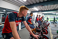 (L-R) Sam Clucas and Kyle Naughton exercise on bike during the Swansea City training session at The Fairwood training Ground, Swansea, Wales, UK. Thursday 16 November 2017