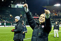 Alex Morgan waves to the crowd after the match. USWNT won 5-0 in a friendly against Ireland at JELD-WEN Field in Portland, Oregon on November 28, 2012.