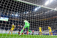 24th March 2021; Stade De France, Saint-Denis, Paris, France. FIFA World Cup 2022 qualification football; France versus Ukraine;  GIROUD OLIVIER (France) challenges Georgiy Bushchan (Ukraine) for a header