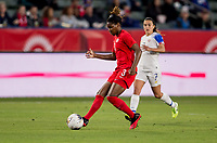CARSON, CA - FEBRUARY 07: Kadeisha Buchanan  #3 of Canada passes off the ball during a game between Canada and Costa Rica at Dignity Health Sports Complex on February 07, 2020 in Carson, California.