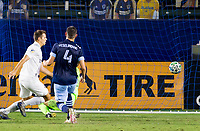 CARSON, CA - OCTOBER 18: Kai Koreniuk #28 of the Los Angeles Galaxy scores his goal and celebrates during a game between Vancouver Whitecaps and Los Angeles Galaxy at Dignity Heath Sports Park on October 18, 2020 in Carson, California.