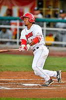 Jahmai Jones (15) of the Orem Owlz at bat against the Grand Junction Rockies in Pioneer League action at Home of the Owlz on July 6, 2016 in Orem, Utah. The Rockies defeated the Owlz 5-4 in Game 2 of the double header.  (Stephen Smith/Four Seam Images)