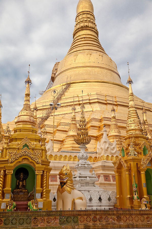 Myanmar, Burma.  Shwedagon Pagoda, Yangon, Rangoon.  The Stupa, showing bamboo stairway to mid-level, for cleaning and repairs.