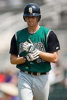 Augusta center fielder Michael McBryde (28) walks back to the dugout after making an out versus Kannapolis at Fieldcrest Cannon Stadium in Kannapolis, NC, Monday, September 3, 2007.