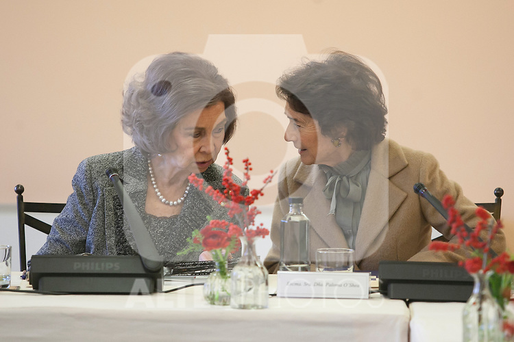 Queen Sofia of Spain (L) attends the Reina Sofia Music School board meeting in Madrid, Spain. December 11, 2015. (ALTERPHOTOS/Victor Blanco)