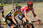 Race leader Red Jersey Rein Taaramäe (EST) Intermarché-Wanty-Gobert Matériaux chats with Primoz Roglic (SLO) Jumbo-Visma during Stage 4 of La Vuelta d'Espana 2021, running 163.9km from Burgo de Osma to Molina de Aragon, Spain. 17th August 2021.    <br /> Picture: Luis Angel Gomez/Photogomezsport | Cyclefile<br /> <br /> All photos usage must carry mandatory copyright credit (© Cyclefile | Luis Angel Gomez/Photogomezsport)