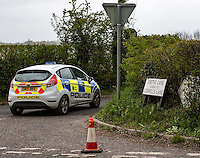 GOUDHURST SHOOTING: Man shot dead in police operation at Smiths Lane, Goudhurst, Kent in link with murder of Roy Blackman in Biddenden, Kent. In photo road closure at entrance to Smiths Lane, Goudhurst, Kent England on 2nd May 2016. Photo Prime Media Images