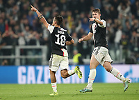 Football Soccer: UEFA Champions League -Group Stage-  Group D - Juventus vs Lokomotiv Moskva, Allianz Stadium. Turin, Italy, October 22, 2019.<br /> Juventus' Paulo Dybala (l) celebrates after scoring with his teammate Matthijs de Ligt (r) during the Uefa Champions League football soccer match between Juventus and Lokomotiv Moskva at Allianz Stadium in Turin, on October 22, 2019.<br /> UPDATE IMAGES PRESS
