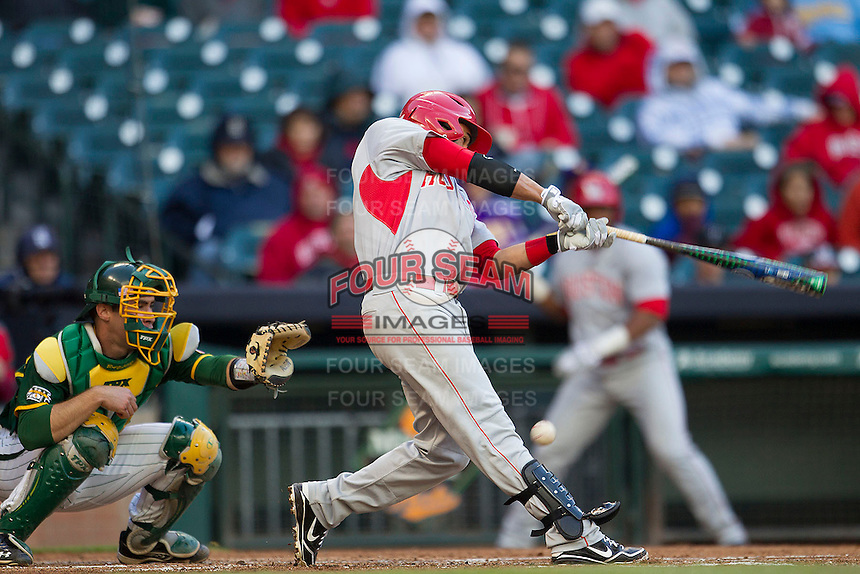 Houston Cougars shortstop Frankie Ratcliff #7 swings the bat against the Baylor Bears in the NCAA baseball game on March 2, 2013 at Minute Maid Park in Houston, Texas. Houston defeated Baylor 15-4. (Andrew Woolley/Four Seam Images).