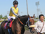 July 17, 2011.Imponente Purse ridden by Chantal Sutherland after winning the Sunset Handicap at Hollywood Park, Inglewood, CA