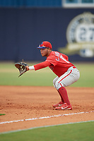 GCL Phillies East first baseman Cesar Rodriguez (12) during a Gulf Coast League game against the GCL Yankees East on July 31, 2019 at Yankees Minor League Complex in Tampa, Florida.  GCL Phillies East defeated the GCL Yankees East 4-3 in the second game of a doubleheader.  (Mike Janes/Four Seam Images)