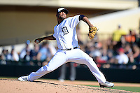 Detroit Tigers pitcher Luis Marte (49) during a spring training game against the St. Louis Cardinals on March 3, 2014 at Joker Marchant Stadium in Lakeland, Florida.  Detroit defeated St. Louis 8-5.  (Mike Janes/Four Seam Images)