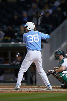 Kip Brandenburg (38) of the North Carolina Tar Heels at bat against the Charlotte 49ers at BB&T BallPark on March 27, 2018 in Charlotte, North Carolina. The Tar Heels defeated the 49ers 14-2. (Brian Westerholt/Four Seam Images)